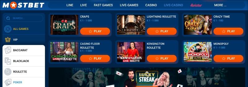 mostbet live casino